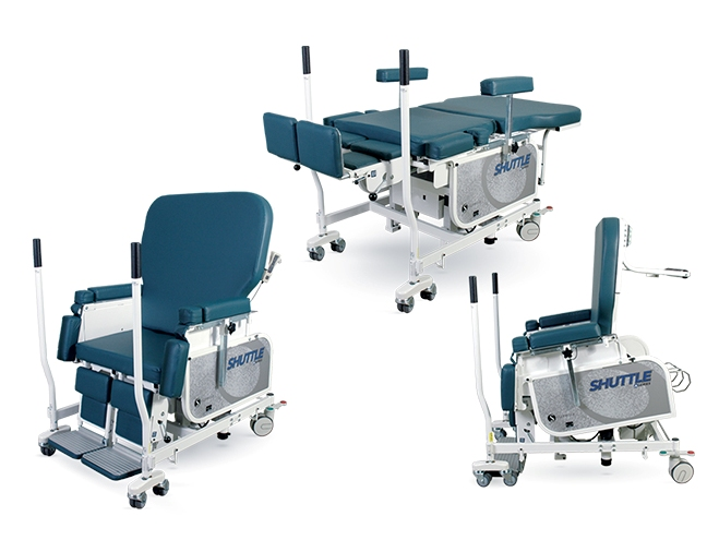 Shuttle Chair in chair position, stretcher position, and stand-assist position