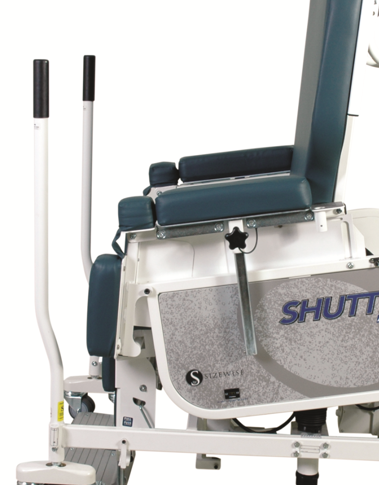 Shuttle Chair in stand assist position with ambulation poles